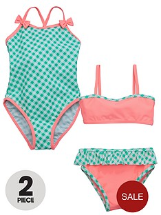 ladybird-girls-gingham-swimsuit-and-bikini-set