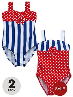 ladybird-girls-spot-and-stripe-swimsuits-2-pack