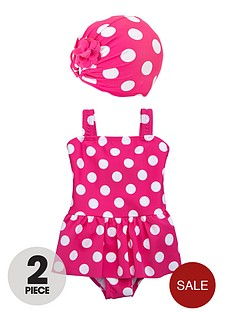 ladybird-baby-and-toddler-girls-spot-frill-swimsuit-and-turban