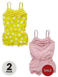 ladybird-girls-jersey-spot-frill-playsuits-2-pack