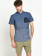 Mens Print Grandad Denim Shirt
