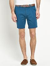 Skinny Stretch Chino Shorts with Belt