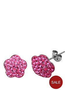 tresor-paris-8-mm-flower-pink-crystal-earrings