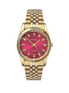 sekonda-fuchsia-pink-dial-gold-plated-stainless-steel-bracelet-ladies-watch