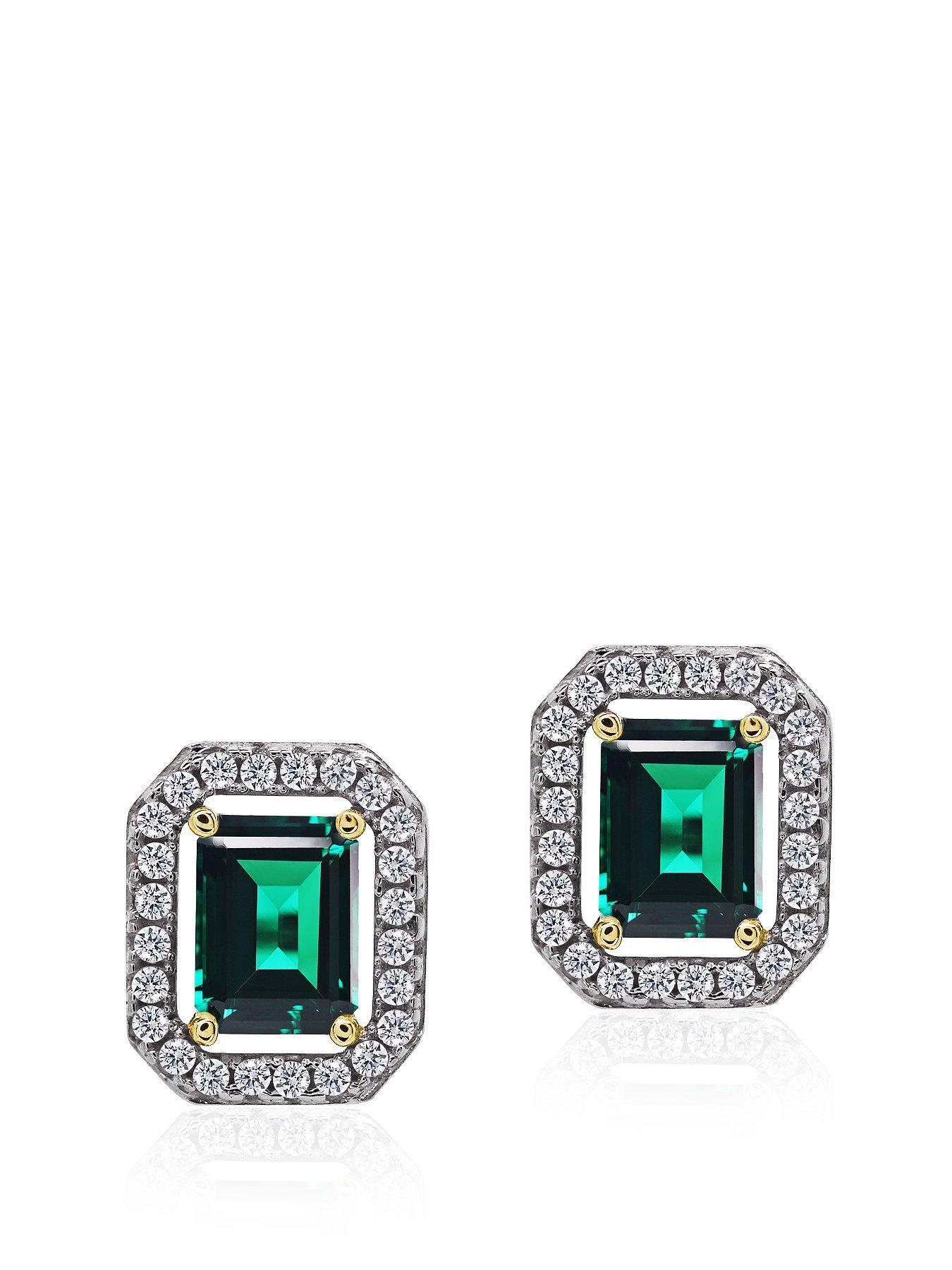 Sterling Silver Square Emerald Green BorderSet Earrings