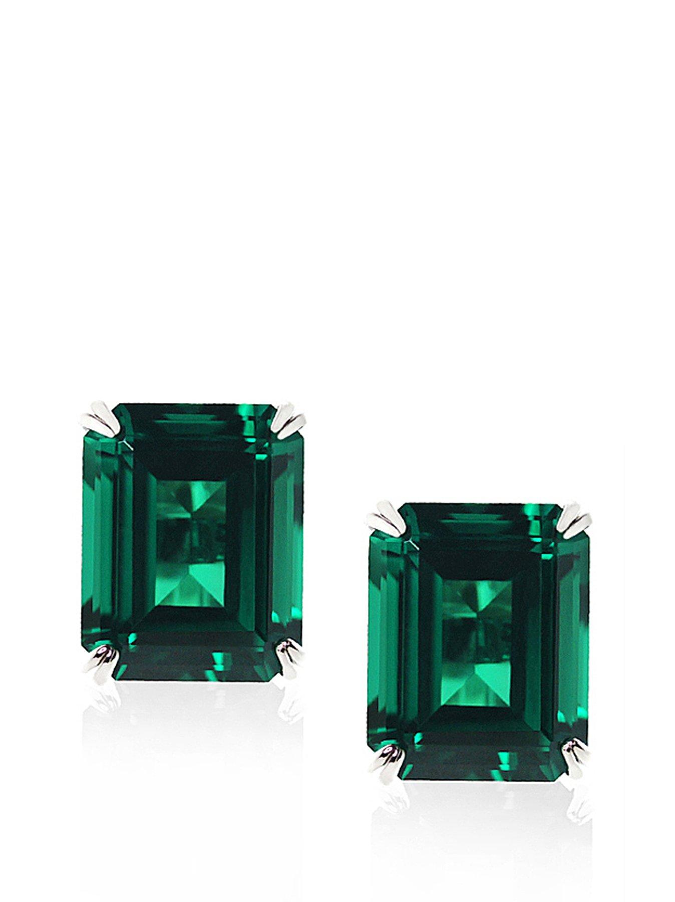 9 Carat White Gold 1.5 Carat Equivalent Double Prong Emerald Green Stud Earrings
