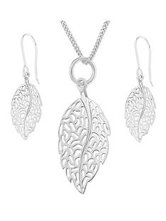 love-silver-sterling-silver-filligree-leaf-pendant-and-earring-set