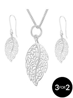 the-love-silver-collection-sterling-silver-filligree-leaf-pendant-and-earring-set
