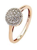 9 Carat Rose Gold 25 Point Diamond Cluster Ring