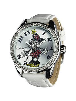 Disney By Ingersoll Classic Diamante White Minnie Ladies Watch