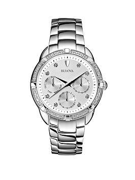bulova-diamond-dial-and-bezel-multi-function-stainless-steel-bracelet-ladies-watch