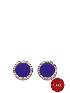 fossil-navy-and-rose-gold-tone-studs