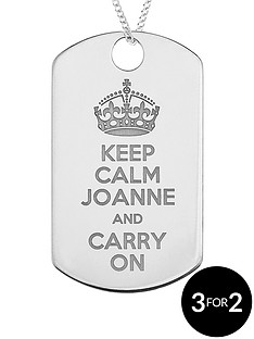 the-love-silver-collection-personalised-sterling-silver-keep-calm-and-carry-on-tag-pendant