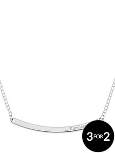 the-love-silver-collection-personalised-sterling-silver-diamond-set-personalised-curved-bar-necklet