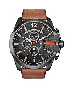 diesel-mega-chief-black-dial-and-gunmetal-tone-tan-leather-strap-mens-watch