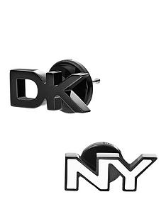 dkny-dk-and-ny-studs-in-silver-tone-and-black-stainless-steel-earrings