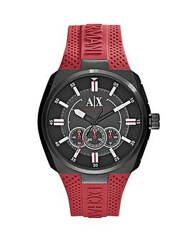 Armani Exchange Black Dial And Red Silicone Strap Mens Watch