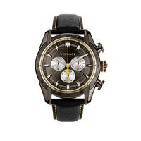 Yellow Highlights Black Leather Strap Mens Watch Littlewoodscom