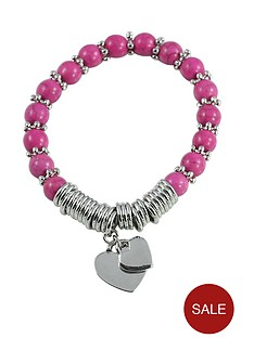 pink-bead-and-silver-tone-double-heart-drop-charm-bracelet