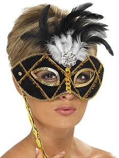 black-and-gold-feather-masquerade-mask