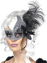 Dark Angel Masquerade Mask with Tie Sides and Feathers