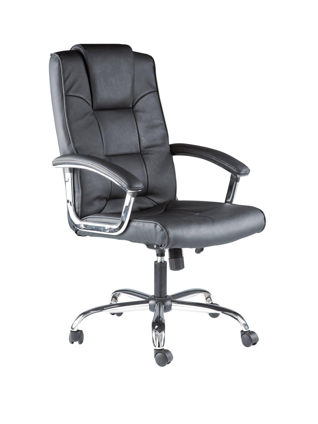 Houston Leather Office Chair, Black,Cream