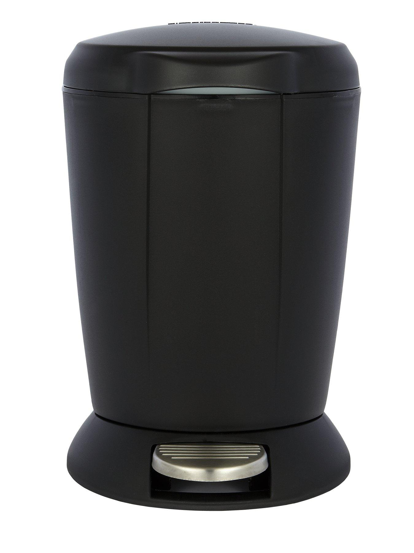 6 Litre Mini Pedal Bin, Black,White