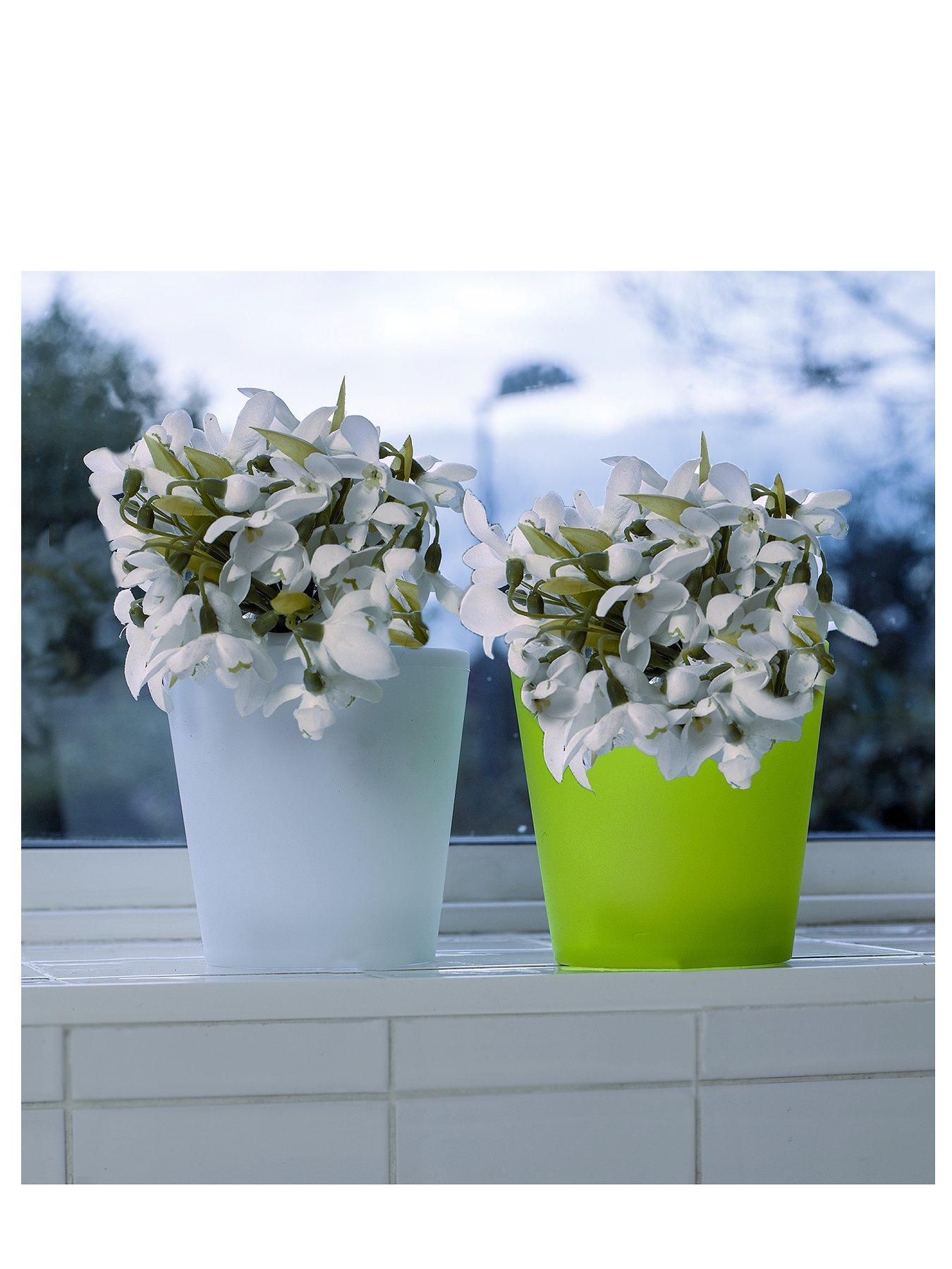 Plastic Twin Pack Light Up Flower Pot - Small
