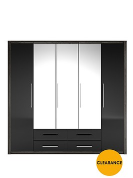 albany-5-door-4-drawer-mirrored-wardrobe