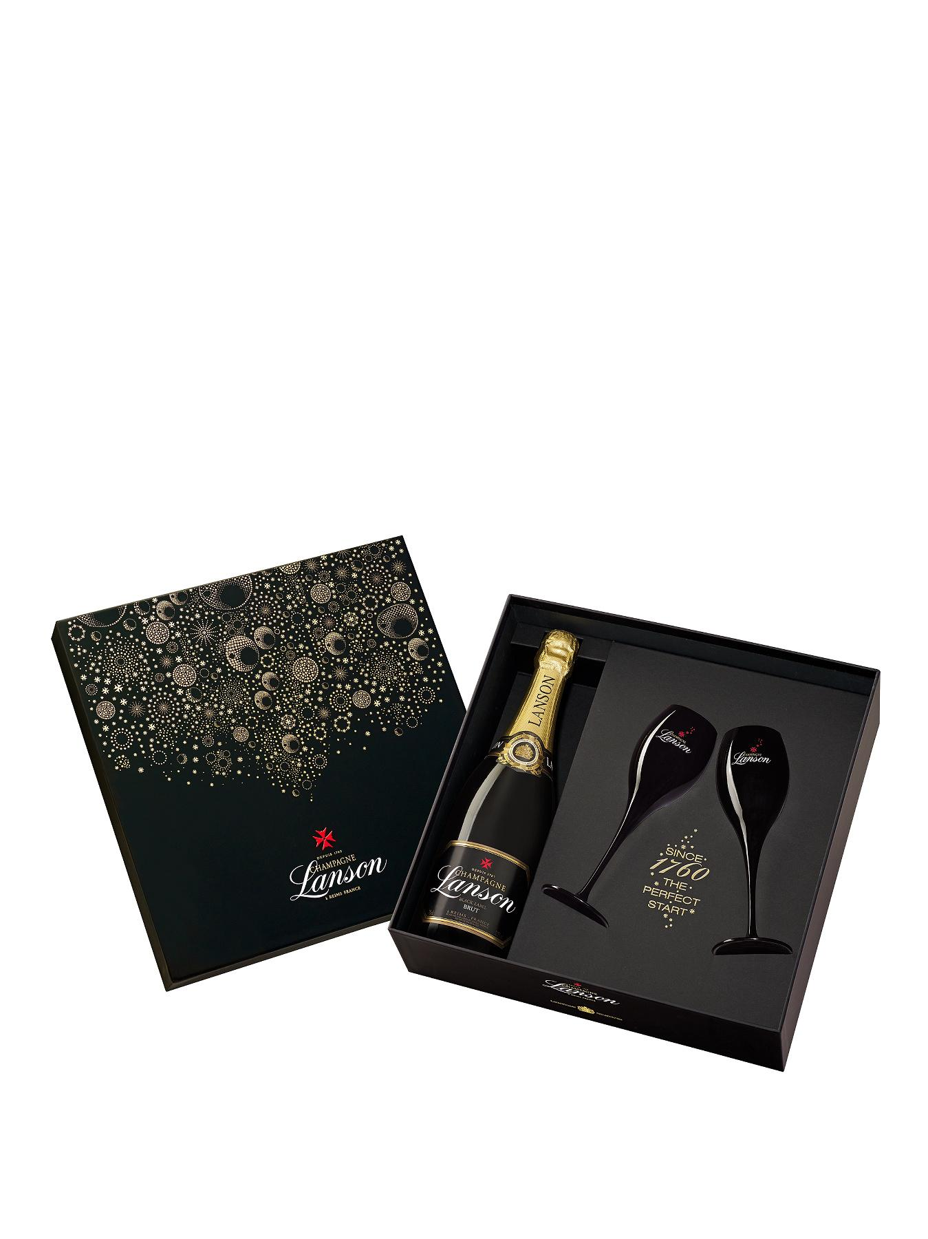 Black Label Champagne Deluxe Gift Pack with 2 black champagne flutes