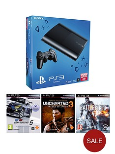 playstation-3-500gb-console-with-gran-turismo-5-uncharted-3-and-battlefield-4