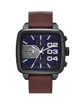 diesel-mens-square-franchise-brown-strap-watch