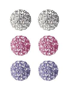 love-silver-sterling-silver-crystal-ball-earrings-3-pack