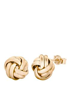 love-gold-9-carat-double-knot-stud-earrings