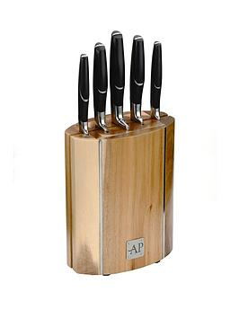 arthur-price-oval-wooden-knife-block-5-piece-set