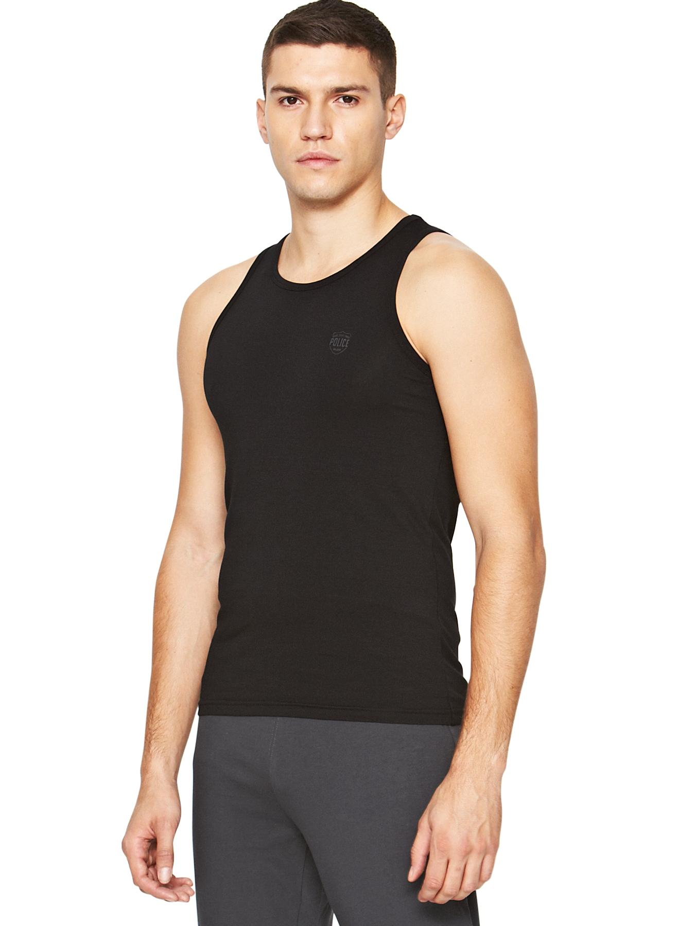 Mens Logo Single Vest, Black,White,Grey