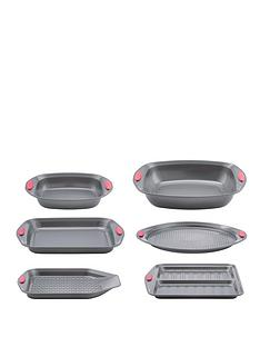 prestige-cook-trays-and-roaters-bakeware-set-6-piece-black-red