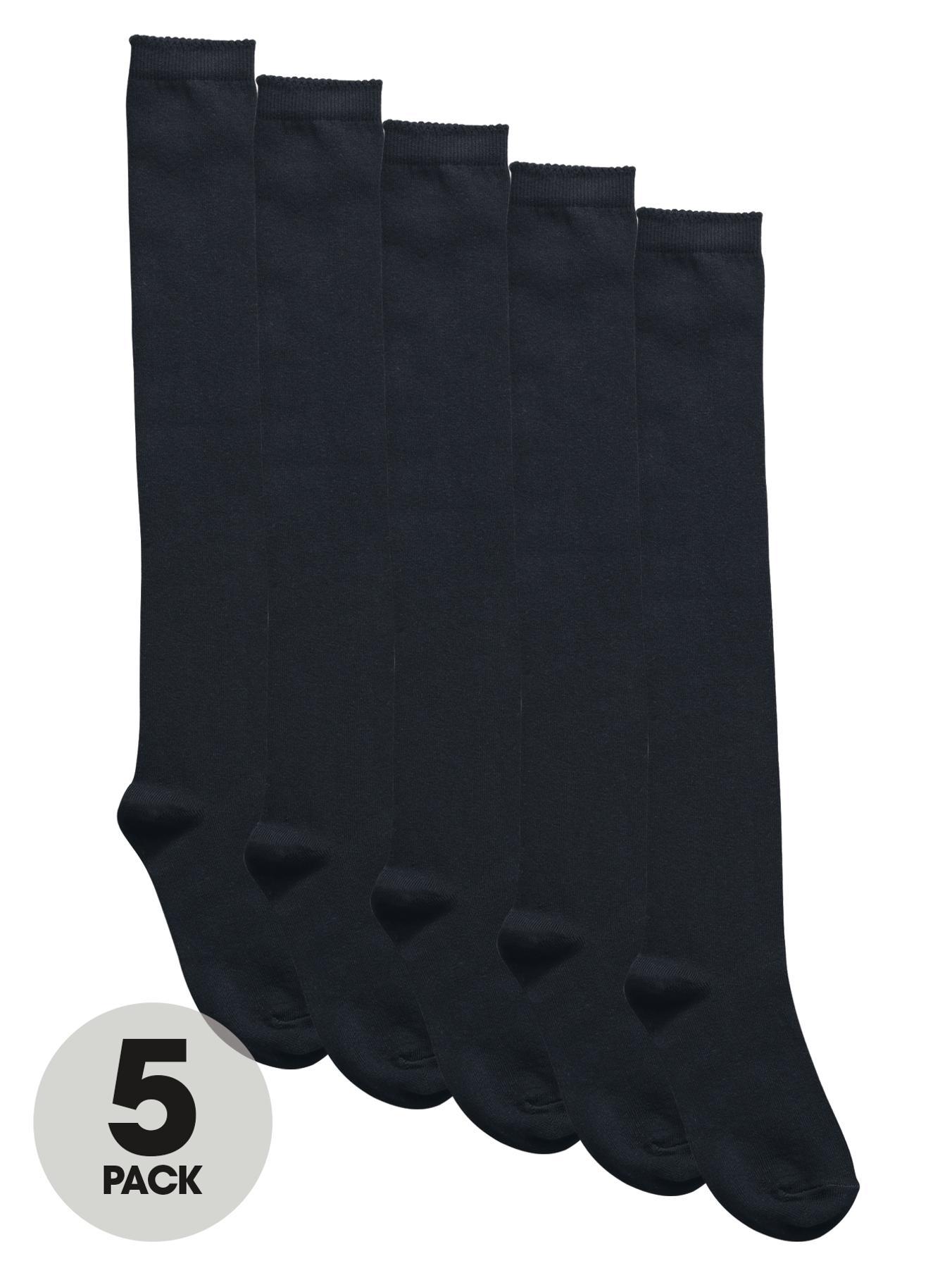 Girls Long School Socks (5 Pack), Black,Grey,Navy at Littlewoods