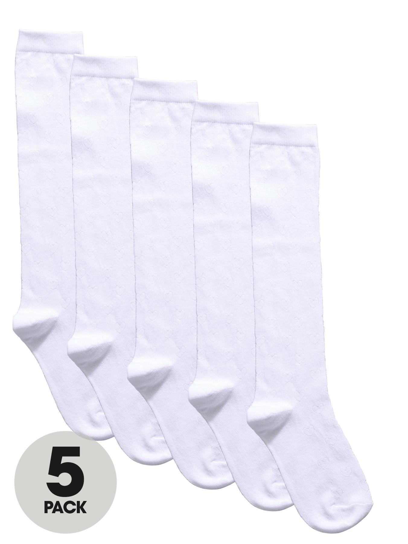 Girls Knee Length Textured Heart Socks (5 Pack), White at Littlewoods