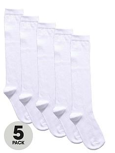top-class-girls-knee-length-textured-heart-socks-5-pack