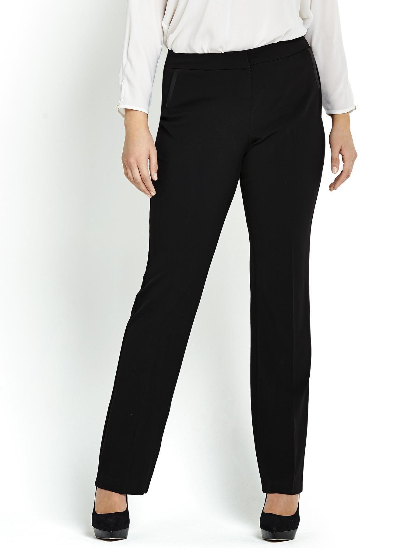 Straight Leg PU Pocket Trim Trousers, Black