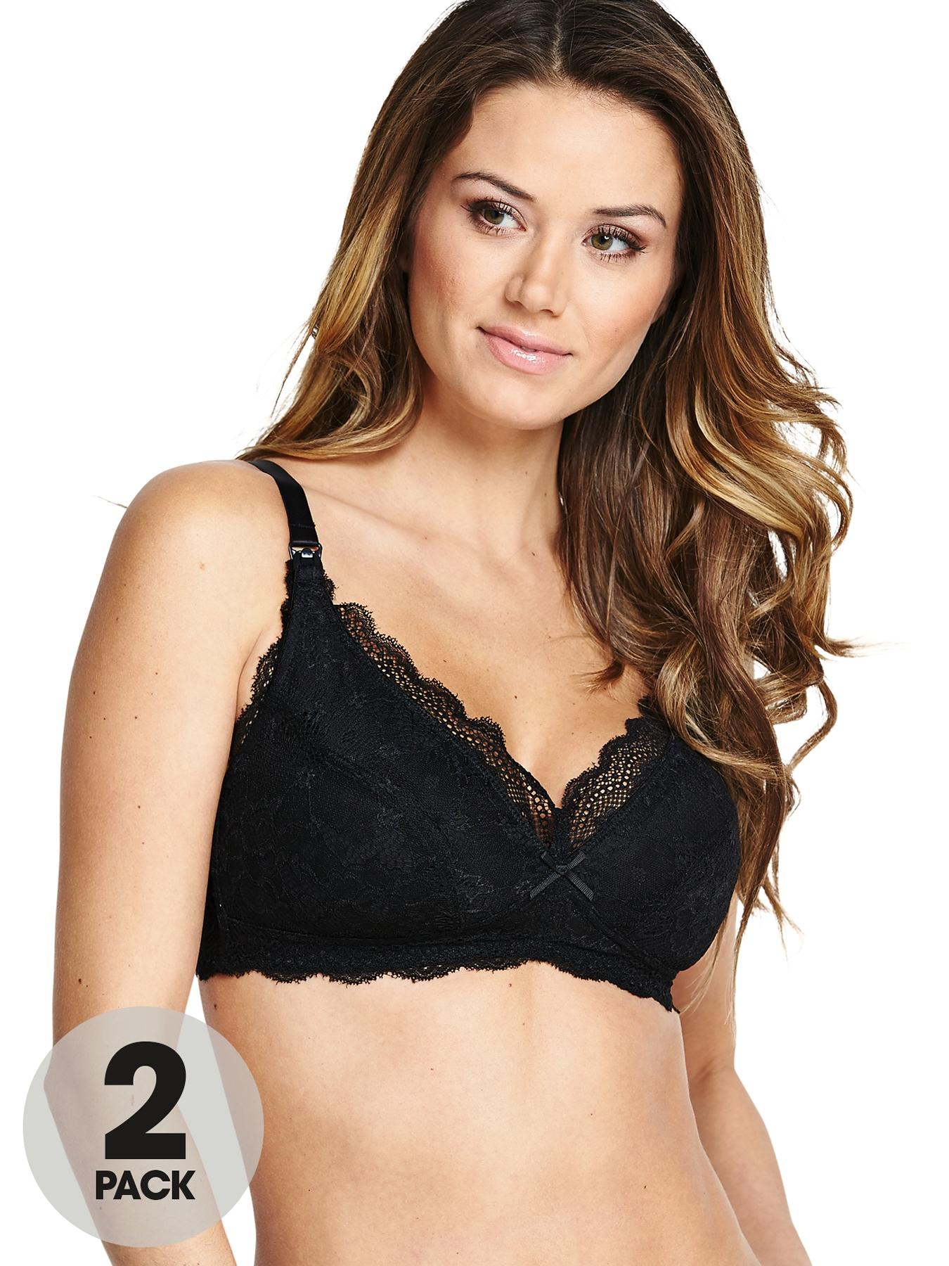 Maternity Lace Bras (2 Pack), Black