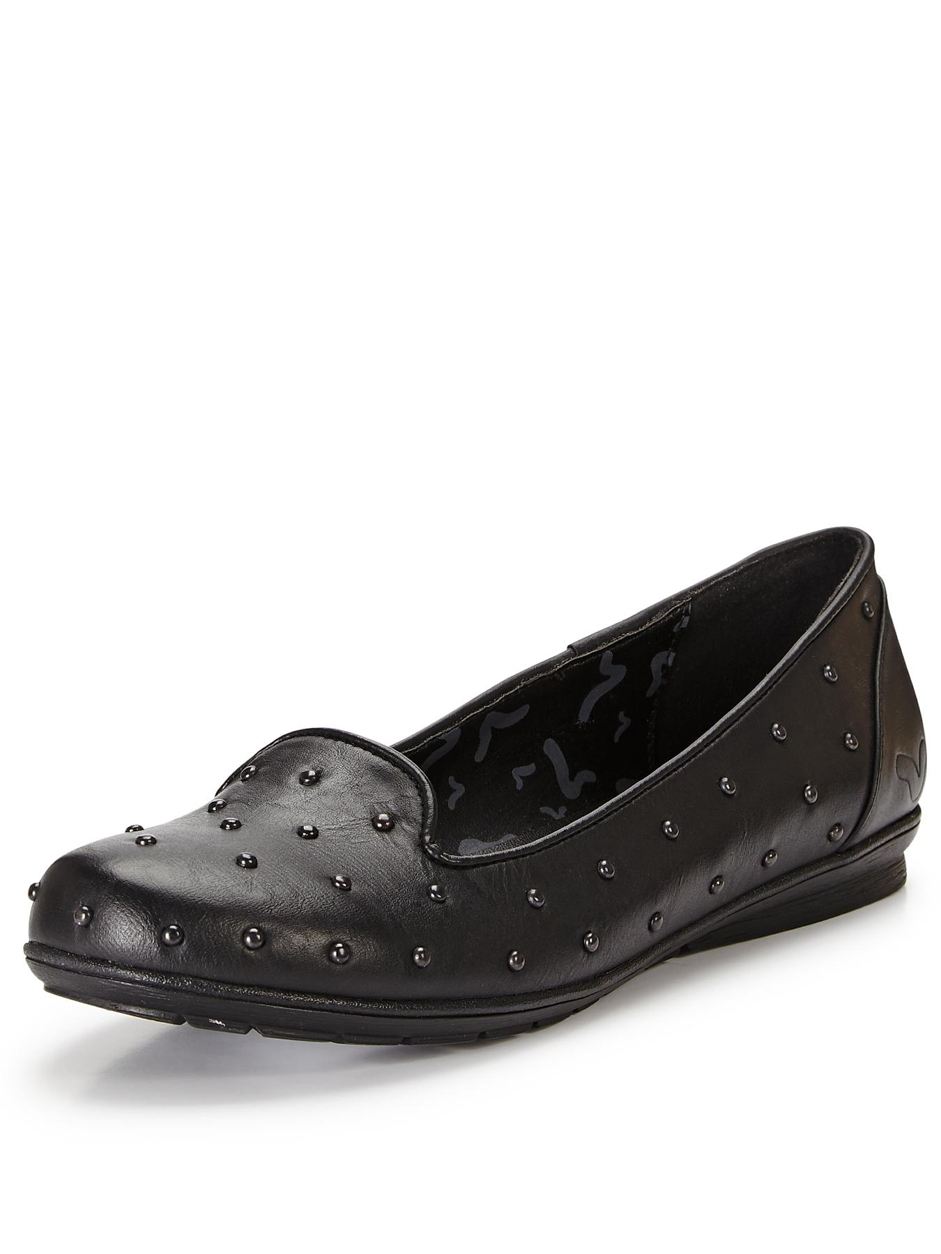 Fion Flat Tab Shoes, Black
