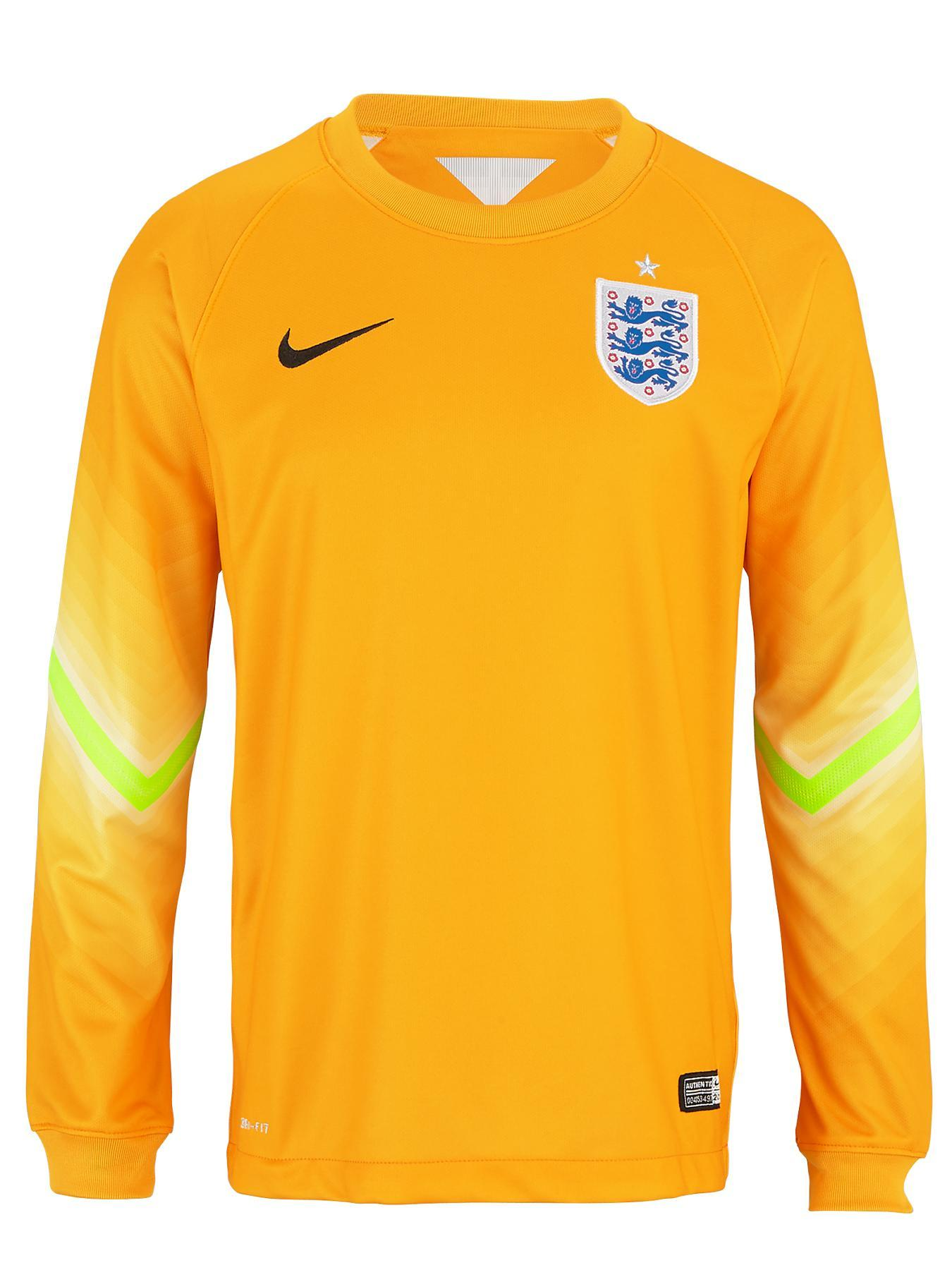 England 2014/15 Junior Long Sleeved Goal Keeper Shirt, Yellow