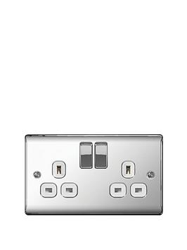 british-general-electrical-raised-2g-switched-socket-13-amp-polished-chrome