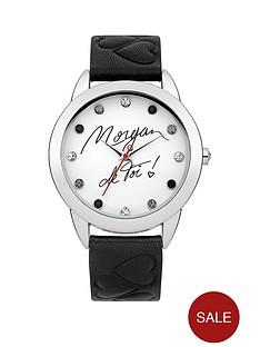 morgan-crystal-set-white-dial-black-heart-embossed-strap-ladies-watch