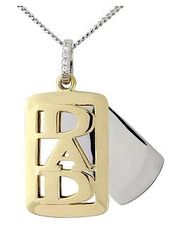 KeepSafe Sterling Silver with 9 Carat Gold Overlay Dad Tag Pendant