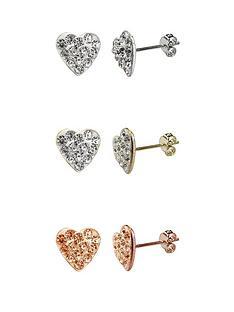 little-mistress-sterling-silver-set-of-3-coloured-cubic-zirconia-heart-earrings