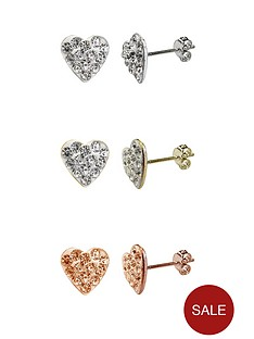 little-mistress-sterling-silver-set-of-3-coloured-cubic-zirconia-heart-earrings