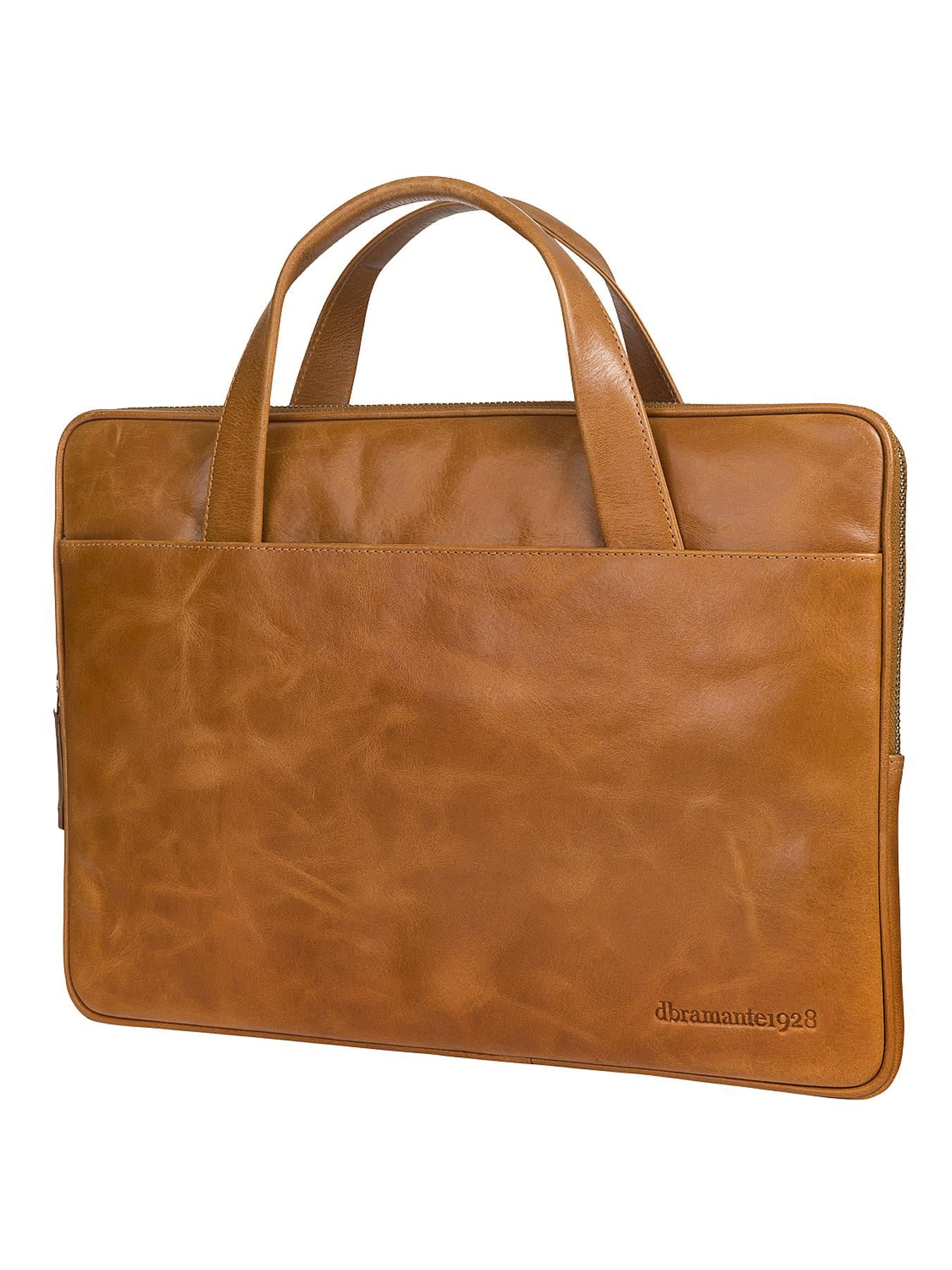 Universal 13 inch Laptop and Macbook Leather Case with Handles  Golden Tan